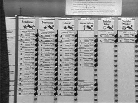 b/w 1964 zoom in to choices in voting booth / presidential election / newsreel - voting booth stock videos & royalty-free footage