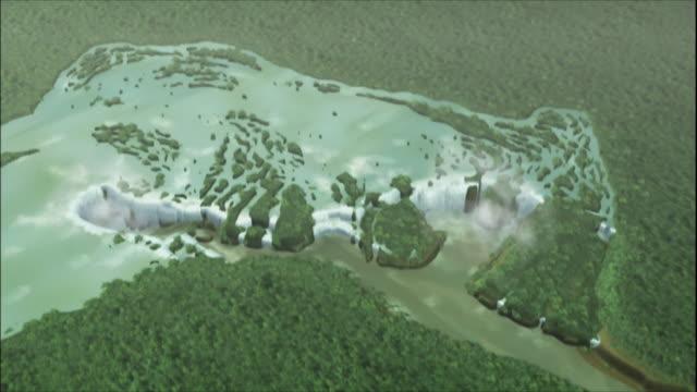 vídeos y material grabado en eventos de stock de zoom in to computer graphics recreation of iguazu falls, border of brazil and argentina - cataratas del iguazú