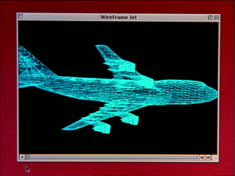 zoom in to extreme close up 3-D animated wireframe model of airliner on computer screen