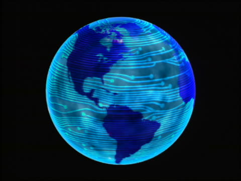 CGI zoom in to extreme close up rotating blue globe with red lights flowing circuit board surface with black background