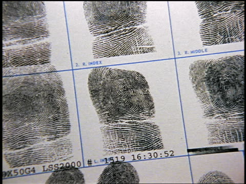 zoom in to extreme close up sheet of fingerprints - fingerabdruck stock-videos und b-roll-filmmaterial