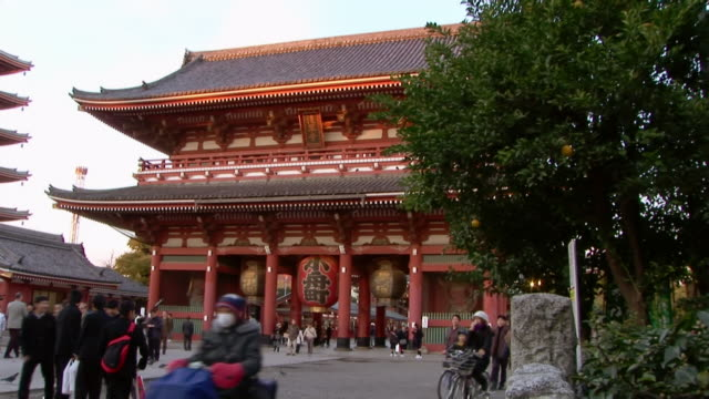 Zoom in to large red lantern hanging over gate to Asakusa Kannon Temple / Tokyo