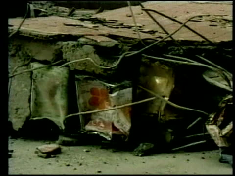 zoom in to rubble from collapsed building following earthquake chi chi 23 september 1999 - taiwan stock videos & royalty-free footage
