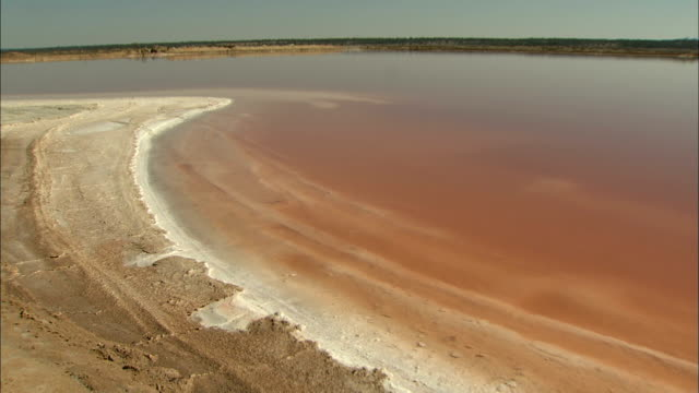 zoom in to salt build up along edge of lake during drought, australia - at the edge of stock videos & royalty-free footage