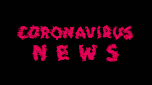coronavirus news - zoom in to words formed out of virus cells, then they are spreading out. video contains alpha channel. - channel 4 news stock videos & royalty-free footage