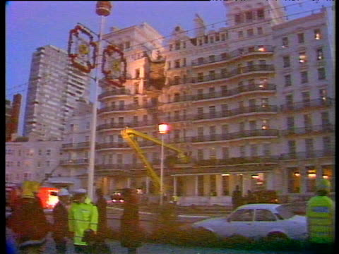 zoom in to wrecked facade of hotel ira bombing of grand hotel brighton 12 oct 84 - brighton brighton and hove stock-videos und b-roll-filmmaterial