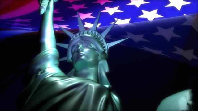 拡大の眺め、自由の女神と米国の旗 - 像点の映像素材/bロール