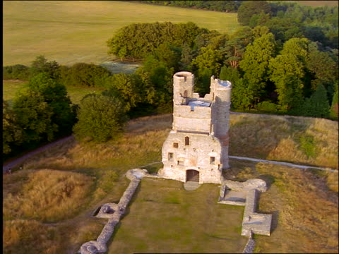 aerial zoom in + zoom out ruins of small castle / donnington, newbury, berkshire, england - newbury england stock videos and b-roll footage