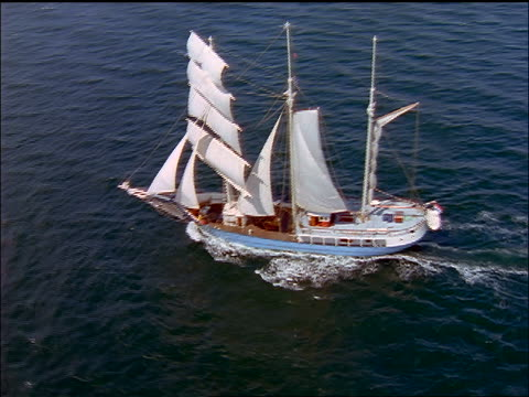 aerial zoom in + zoom out schooner sailing on ocean / aero, denmark - sailing ship stock videos & royalty-free footage