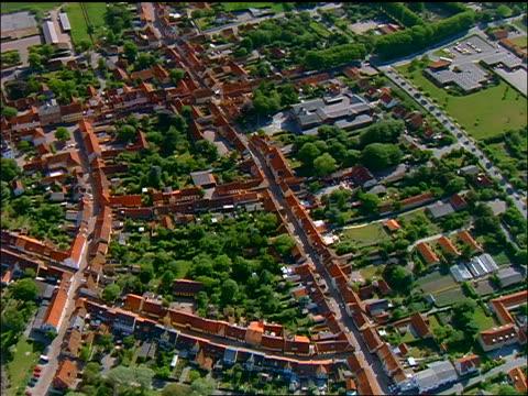 AERIAL zoom in + zoom out village of Aeroskobing, Aero, Denmark