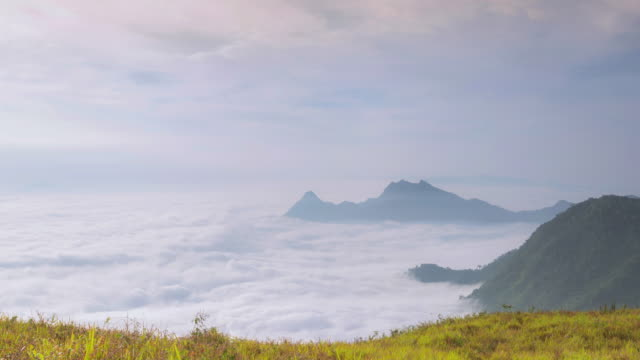 Zoom in:4K Time-lapse Mist motion at moutain in sunrise time