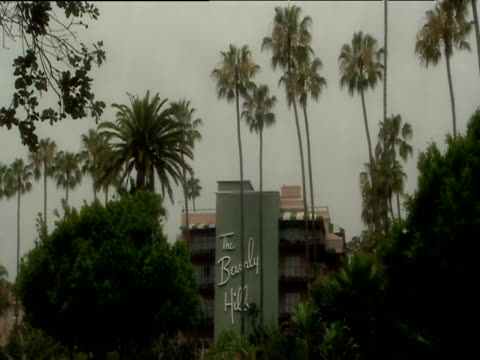 zoom into beverly hills hotel sign on side of building surrounded by lush gardens hollywood - beverly hills hotel stock videos and b-roll footage