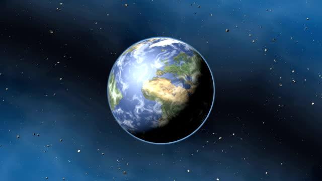 zoom into earth from space - 小惑星点の映像素材/bロール