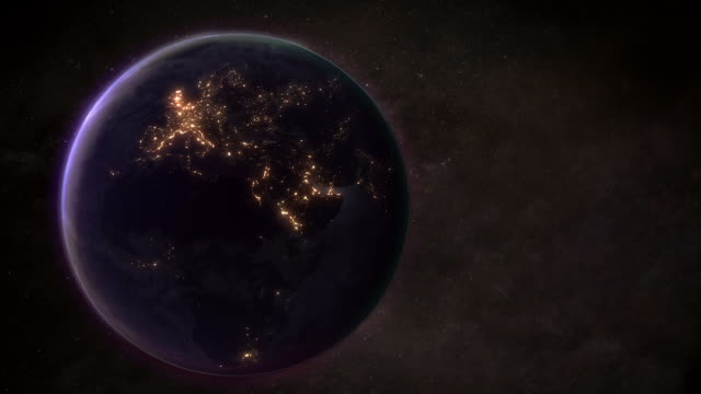 zoom into earth showing light pollution - electricity stock videos & royalty-free footage