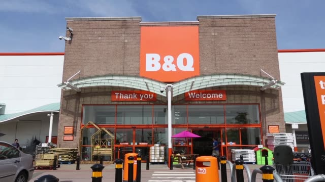 zoom into exterior of a bq home improvement store operated by kingfisher plc in london uk on tuesday july 16 a logo sits above the entrance to a bq... - self improvement stock videos & royalty-free footage