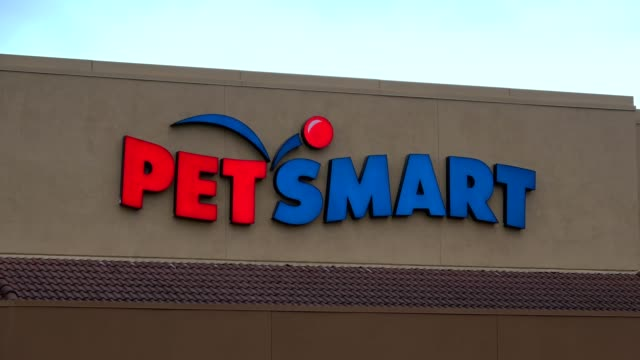 zoom into sign with logo on facade of petsmart store in dublin california may 21 2018 - petshop stock videos and b-roll footage