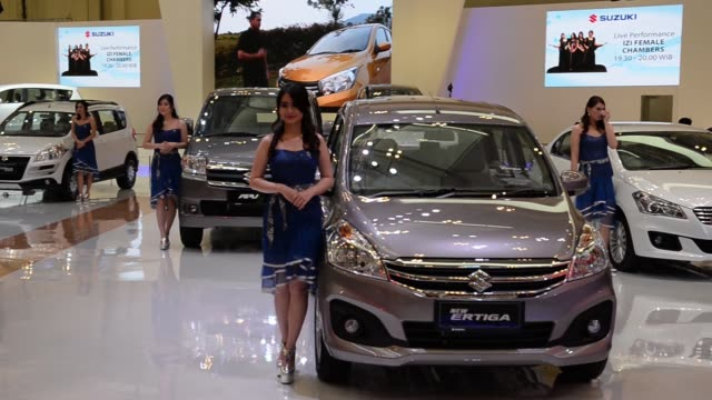 zoom out a hyundai grand avega limited compact vehicle on display at the gaikindo indonesia international auto show in jakarta indonesia on friday... - バッジ点の映像素材/bロール