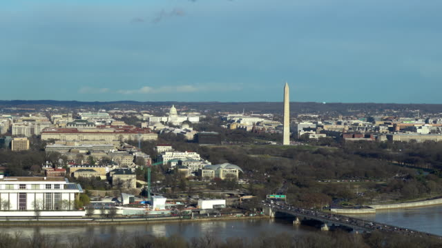 zoom out aerial high angle view of washington dc national mall with lincoln memorial washington monument and united states capitol. - jefferson memorial stock videos & royalty-free footage