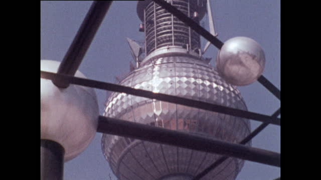 las zoom out berlin tv tower looking through world clock; 1970 - general view stock videos & royalty-free footage