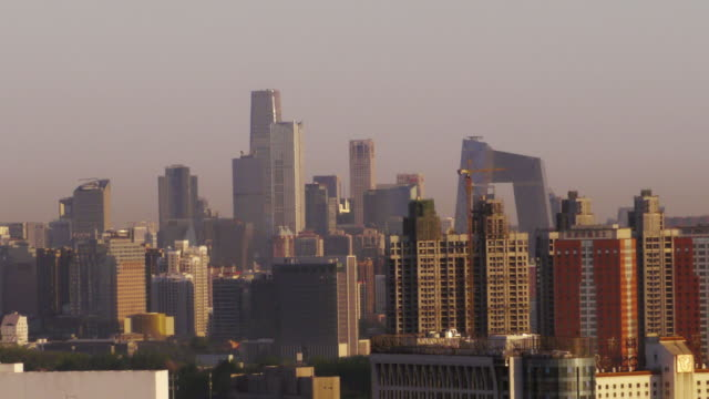Zoom Out, dawn, sunrise, high-rise buildings, skyline, China World Trade Center, CCTV Headquarters, Beijing, China