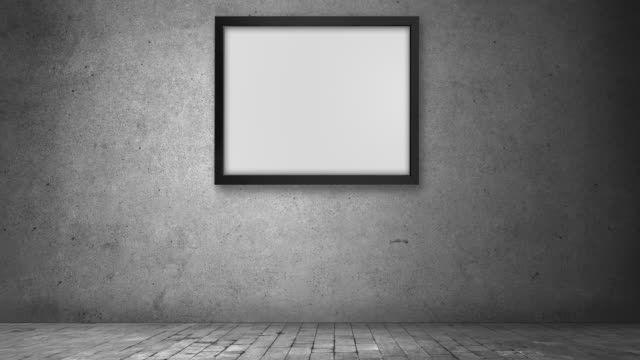 zoom out effect photo frame in concrete domestic dark room - museum stock videos & royalty-free footage