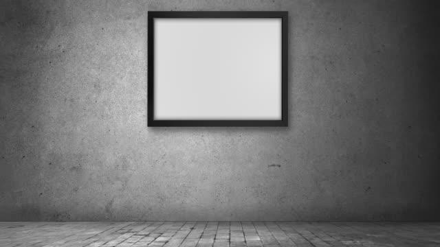zooma ut effekt fotoram i betong inhemska mörka rum - ram bildbanksvideor och videomaterial från bakom kulisserna