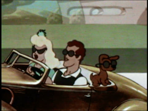 1948 ANIMATION zoom out from couple and dog w/sunglasses in convertible to sunglasses on front of car /AUDIO
