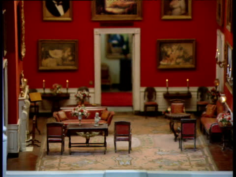 zoom out from dolls' house version of white house red room - dollhouse stock videos & royalty-free footage