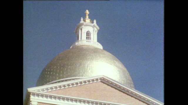 zoom out from dome of massachusetts state house; 1981 - pediment stock videos & royalty-free footage