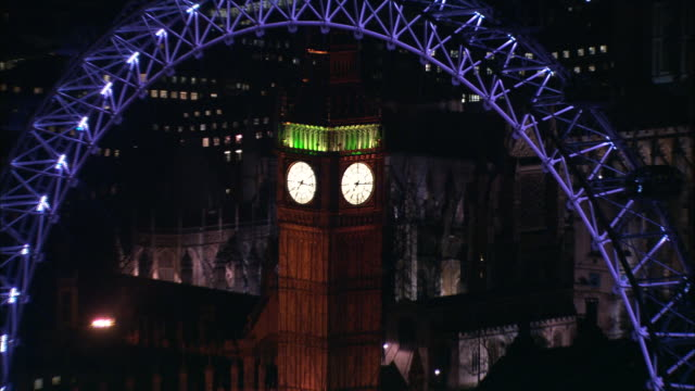 zoom out from face of big ben over london eye and houses of parliament london available in hd. - millennium wheel stock videos & royalty-free footage