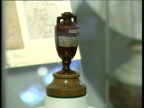Zoom out from original Ashes Trophy in MCC Museum at Lord's London