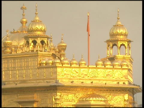 vidéos et rushes de zoom out from ornate roof to golden temple of amritsar with water in foreground - éthéré