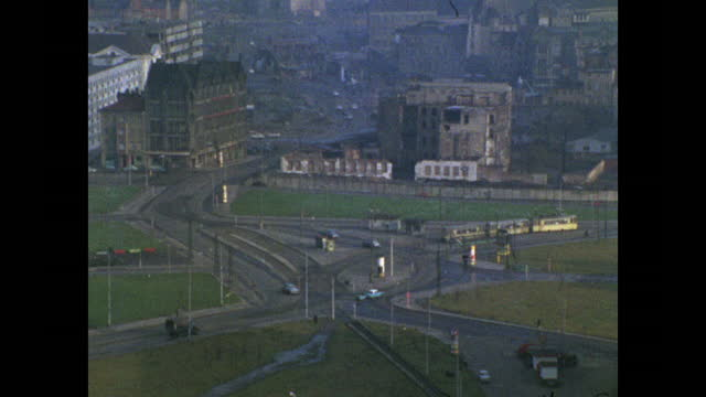zoom out from road intersection in east berlin; 1969 - establishing shot stock videos & royalty-free footage