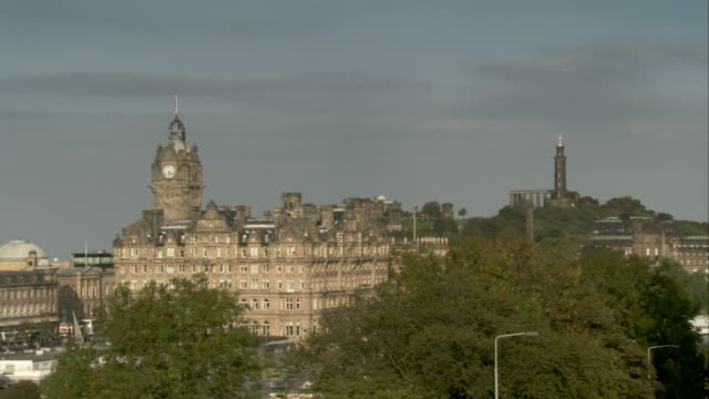 Zoom out from the Balmoral Hotel to the National Gallery of Scotland, Edinburgh. Available in HD.