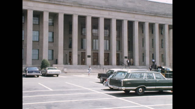 zoom out from the columns at the entrance of the pentagon building in virginia, usa; 1974. - arlington virginia stock videos & royalty-free footage