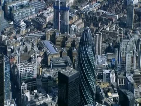 zoom out from the gherkin to reveal the city of london uk - city of london stock videos & royalty-free footage