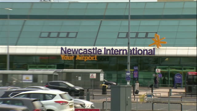 zoom out from the newcastle airport sign - newcastle upon tyne stock videos & royalty-free footage
