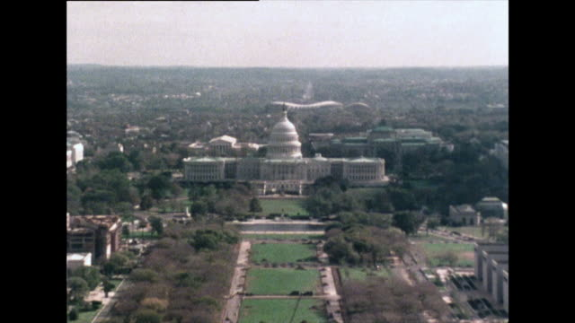 zoom out from u.s. capitol building, washington dc; 1976 - us senat stock-videos und b-roll-filmmaterial