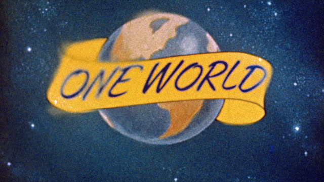 1945 ANIMATED zoom out globe with 'one world' banner bursting with light / focusing + fading to black