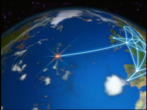 CGI zoom out lines of communication stretching from Greece over Europe to North America / Earth from space