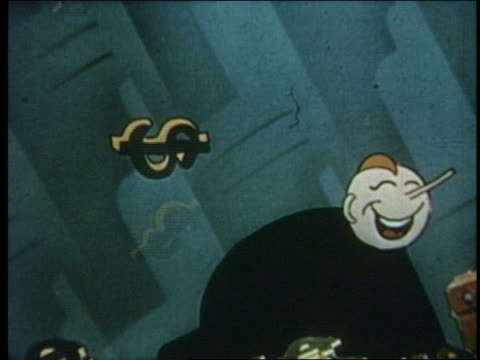 vídeos de stock, filmes e b-roll de 1941 animated zoom out man jumping with joy as dollar signs fall - riqueza