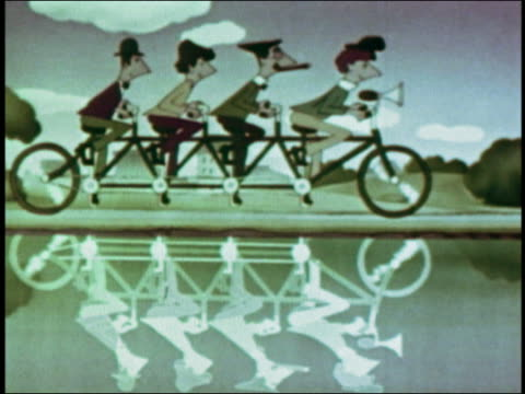 1949 ANIMATION zoom out Marx Brothers on tandem bicycle to shadow in water / losing and finding shadow
