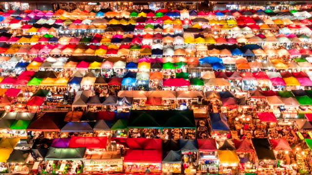 Zoom out night market in Bangkok, Thailand.
