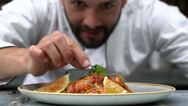 vídeos de stock e filmes b-roll de zoom out of chef decorating his plate and looking very happy - contente