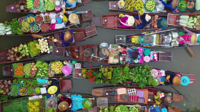 zoom out of floating market - vendor stock videos & royalty-free footage