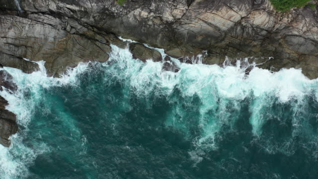 zoom out of rock coastline - cliff stock videos & royalty-free footage