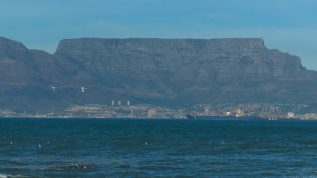 Zoom out of Table Mountain from Bloubergstrand, Cape Town, South Africa