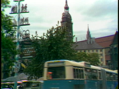zoom out of the clock tower on a german cathedral - music or celebrities or fashion or film industry or film premiere or youth culture or novelty item or vacations stock-videos und b-roll-filmmaterial