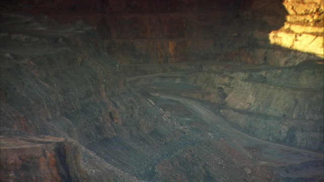 Zoom out on the Kalgoorlie Super Pit in Western Australia.
