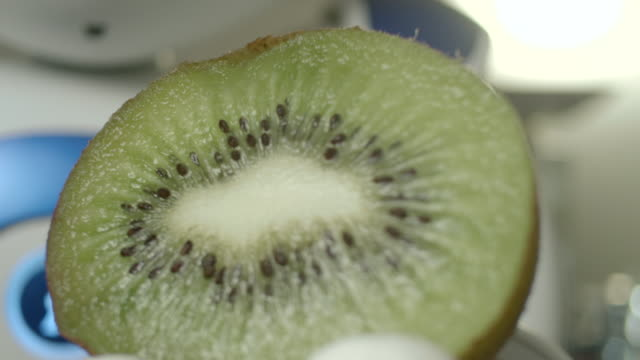 zoom out onto a robot holding a kiwi fruit in one of its hands. - microwave stock videos & royalty-free footage